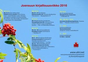 Joensuun kirjallisuusviikko 2016FLYERI